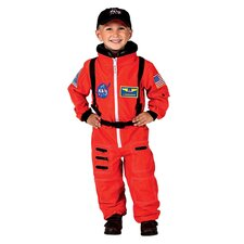 Jr. Astronaut Suit with Embroidered Cap Costume in Orange