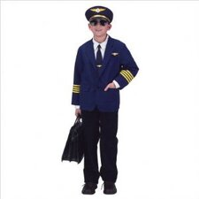 Jr Airline Pilot Child Costume without Glasses