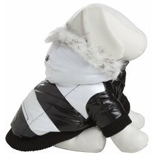 Striped Fashion Dog Parka with Removeable Hood