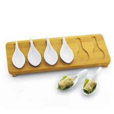 Porcelain Tasting Spoons with Bamboo Tray (Set of 7)