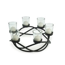 Round Waves Iron and Glass Candle Holder
