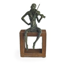 Violin Player Figurine on Rustic Stand
