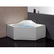 "59"" x 59"" Corner Whirlpool Tub with Waterfall Faucet"