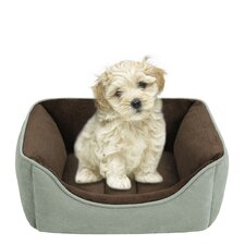 Faux Suede Reversible Rectangular Cuddler Dog Bed in Celedon/Chocolate