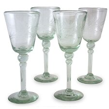 'Crystal Flowers' Wine Glasses (Set of 4)