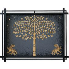 'Golden Bo Tree with Lions' Wall Art
