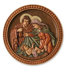 Nativity Medallion Cedar Wall Relief Panel