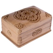 M Ayub Artisan Treasured Roses Walnut Wood Jewelry Box