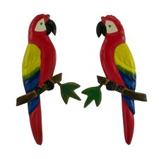 Armando Petzey Artisan Scarlet Macaws Pinewood Wall Sculptures (Set of 2)