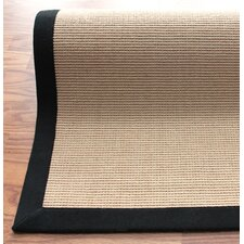 Natural Jute Cotton Black Border Rug