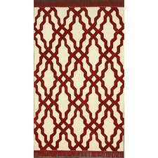 Brilliance Red Elegant Trellis with Fringe Rug