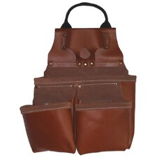 Heavy Duty Tan Top Grain Leather 9 Pocket Nail and Tool Pouch