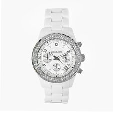 Women's White Acrylic Watch with Crystal