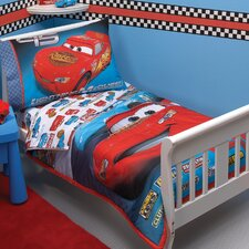 Cars Taking the Race 4 Piece Toddler Bedding Set