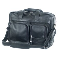 Sondrio Leather Multi-Pocket Attache in Black