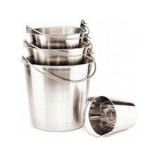 Pail with Handle in Stainless Steel