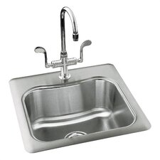 "Staccato 20"" x 20"" Single Basin Self Rimming Entertainment Kitchen Sink"