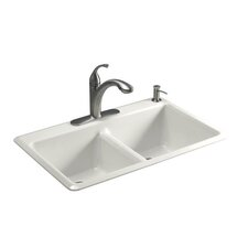 "Anthem 33"" x 22"" Cast Iron 4 Hole Double Bowl Self Rimming Kitchen Sink"