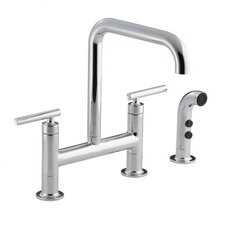 Purist Deck-Mount Bridge Faucet with Sidespray