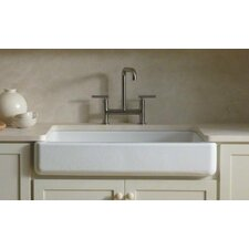 "Whitehaven Self-Trimming 35-11/16"" X 21-9/16"" X 9-5/8"" Under-Mount Single-Bowl Kitchen Sink with Short Apron"