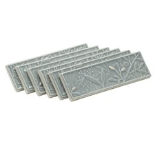 "Gilded Meadow 8"" x 2-1/2"" Decorative Tile in Translucent with Accents (Set of 6)"