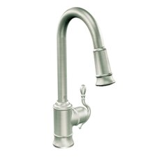 "Woodmere One Handle Single Hole High Arc Pull Down Kitchen Faucet with 68"" Braided Hose"
