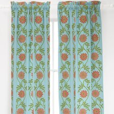 Edelweiss Crewel Cotton Rod Pocket Curtain Single Panel