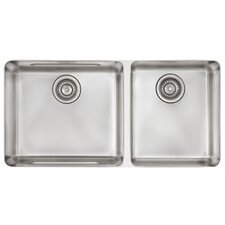 "Kubus 34.63"" x 17.31"" Double Bowl Kitchen Sink"