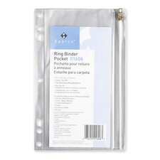 "Ring Binder Pocket, w/ Zipper, Vinyl, Hole Punched, 10""x8"", CL"