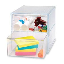"Storage Organizer, 2 Drawer, 6""x6""x6"", Clear"