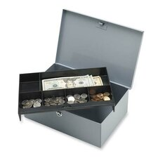 Sparco All-Steel 6-Compartment Tray Cash Box, Gray