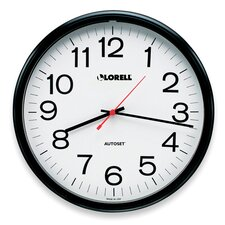 "Wall Clock, 13-1/4"", Arabic Numerals, White Dial/Black Frame"