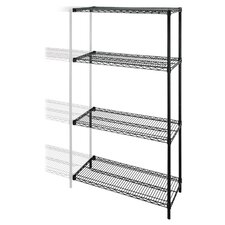 "Industrial Adjustable Wire Shelving Add-On-Unit, 36"" x 24"" x 72"", Black"