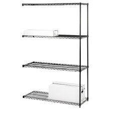 "Industrial Adjustable Wire Shelving Add-On-Unit, 36"" x 18"" x 72"", Black"