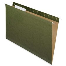 100% Recycled Hanging File Folders, Green,1/3 Cut, Letter