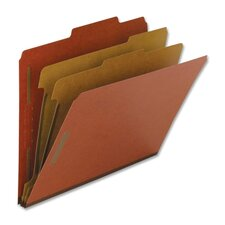 Classification Folders, Legal, 2 Partitions, 10/BX, Red