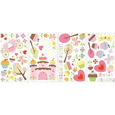 56-Piece Happi Cupcake Wall Decal
