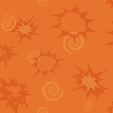 Burst and Scrolls Wallpaper in Orange
