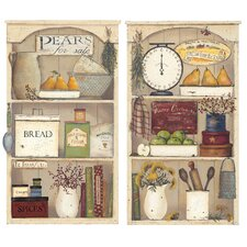 Peel & Stick Giant Country Kitchen Shelves Wall Decal