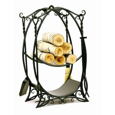 Cottage Wrought Iron Log Holder with Tools