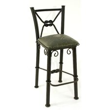 Western Iron Barstool with Back in Sage Green