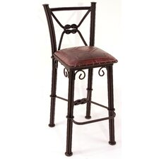 Western Iron Counter Stool with Back in Antique Red