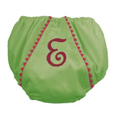 Garden Princess Pique Diaper Cover in Green with Hot Pink Trim
