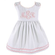 Garden Princess Pique Dress in White with Light Pink Trim
