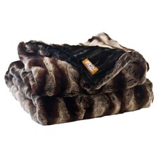 Ribbed Chinchilla Faux Fur Acrylic Throw Blanket with Velvet-Velour Lining