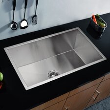 "33"" x 19"" Zero Radius Undermount Single Bowl Kitchen Sink"