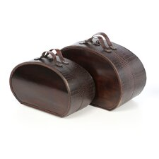 Decorative Box Set in Brown Alligator
