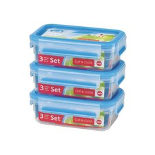 Emsa 3D Food Storage 3 Piece 18.5 fl oz Clip and Close Container Set