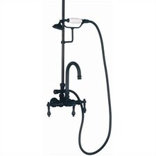 Wall Mount Gooseneck Tub Faucet with Hand Shower and Metal Lever Handles for Shower System