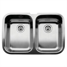 "Supreme 32"" x 20.88"" x 10"" Equal Double Bowl Undermount Kitchen Sink"